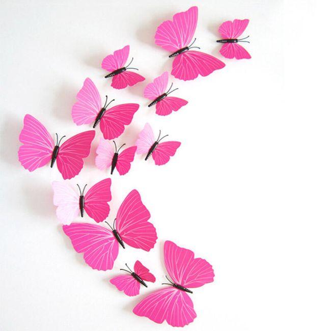 3D pembe kelebekler çıkartmaları 1