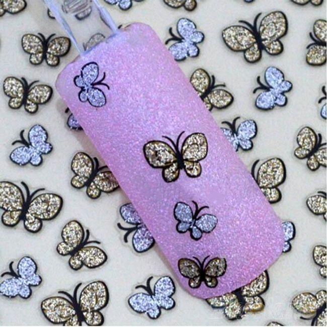 Csillogó pillangók - köröm matricák 1