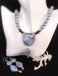 Sada šperků s minerálem Avanturin Blue gold