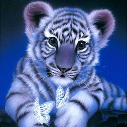 5D kép kövekkel - Tigris lepkékkel - 3 méret