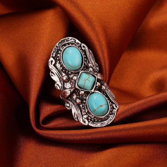 Dámský prsten - modré kamínky 1