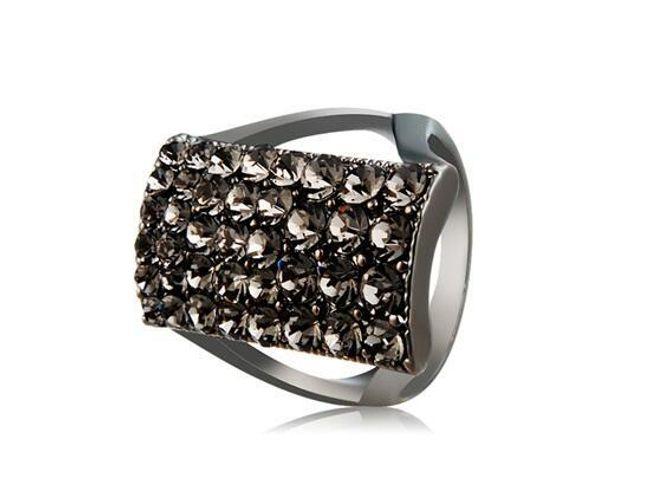 Dámský tmavý prsten s kamínky 1