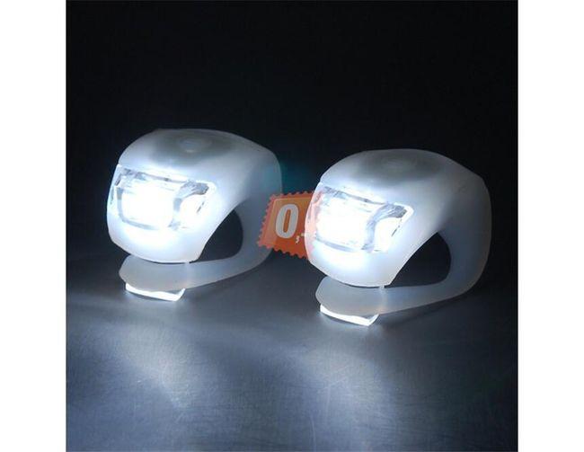 2x Přední silikonová mini blikačka na kolo 2 LED  1
