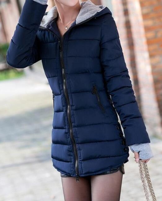 Prošívaná zimní bunda Pia - Tmavě modrá - velikost č. M 1