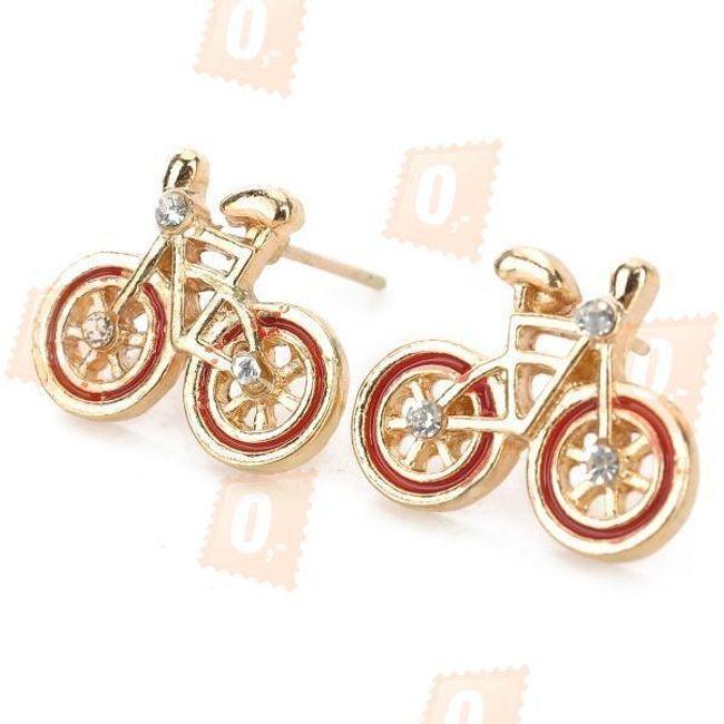 Kolczyki damskie w kształcie roweru  - zestaw 3pary 1