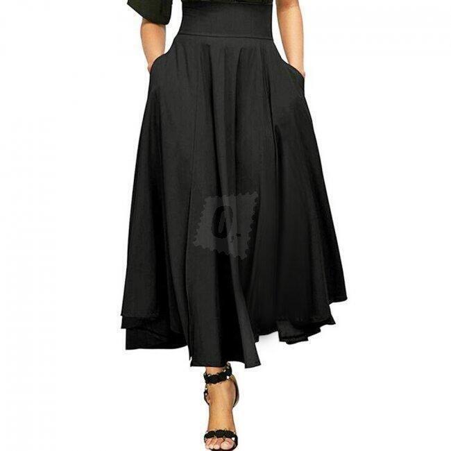 Lehká áčková sukně ke kotníkům - Černá_velikost č. 2 1