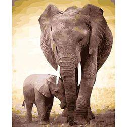 DIY  картина за оцветяване - слонове