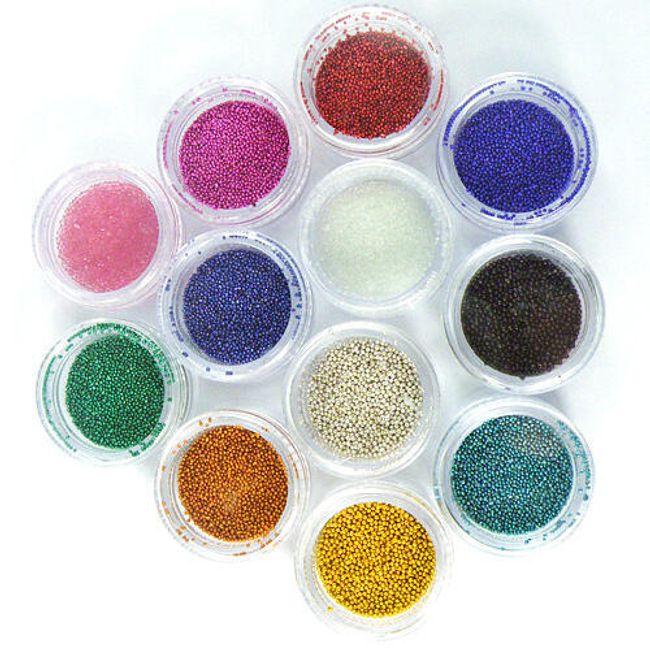 Körömdíszítés - gyöngyök, 12 színben 1