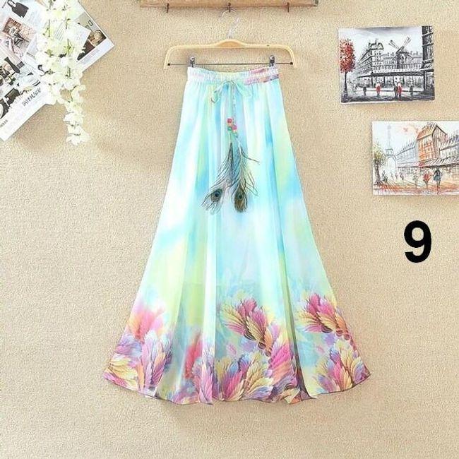 Lehoučká dlouhá sukně na jaro i léto - Varianta 9 1