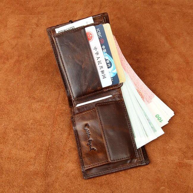 Pánská peněženka bez zapínání z PU kůže - hnědá barva 1