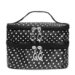 Dvoslojna kozmetička torba sa polka tačkama - 7 boja