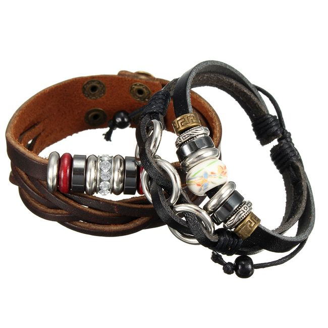 Unisex műbőr karkötő gyöngyökkel 1