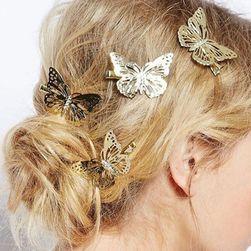 Klipy do vlasov s motýľmi - 6 kusov