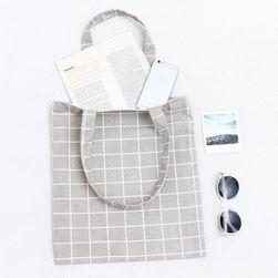 Vászon bevásárló táska kockás kivitelben