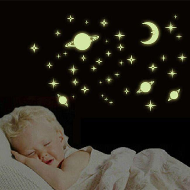 Autocolant luminos - lună, stele, planete 1