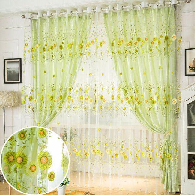 Зеленый тюль с подсолнухами 1