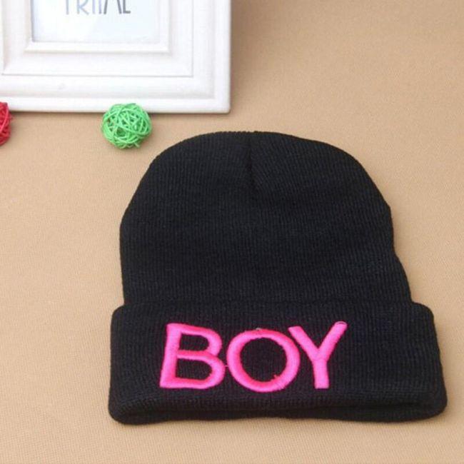 Zimní čepice pro děti s nápisem BOY - 6 barev 1