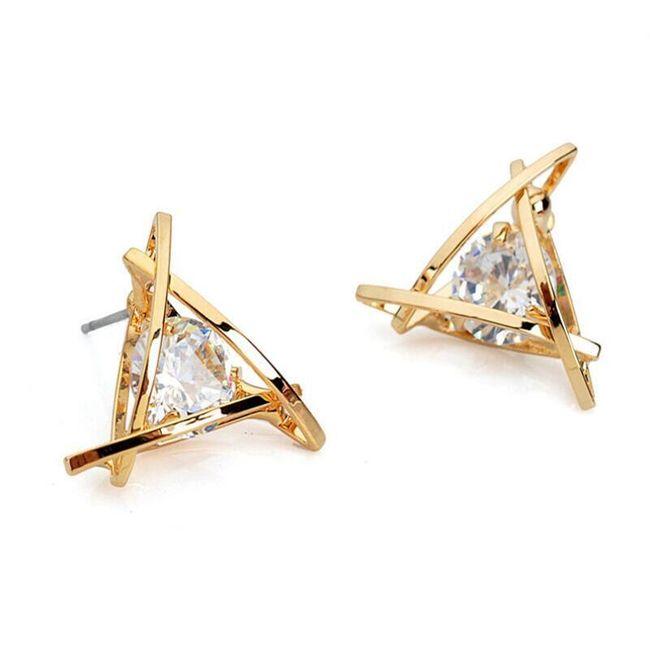 Náušnice v originálním trojúhelníku - zlaté  1