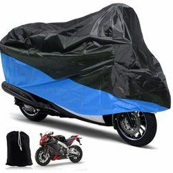 Černo-modrá ochranná plachta pro motocykl