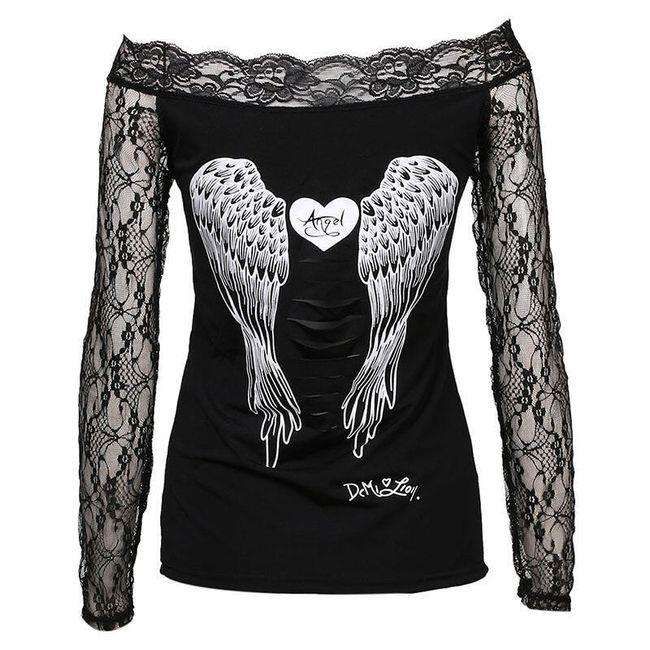 Ženska majica z angelskimi krili in dolgimi rokavi 1