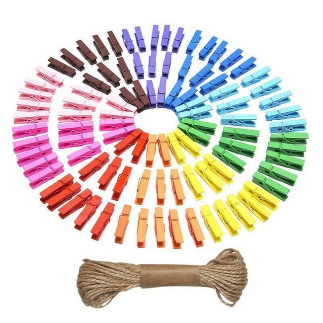 Okrasne ščipalke v mavričnih barvah - 100 kosov 1