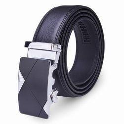 Pánský koženkový opasek v černé barvě - 120 cm
