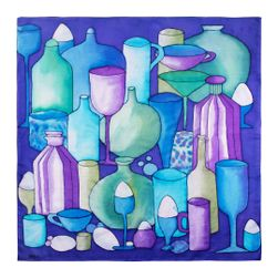Kézzel festett selyemsál, visszaváltható palackok