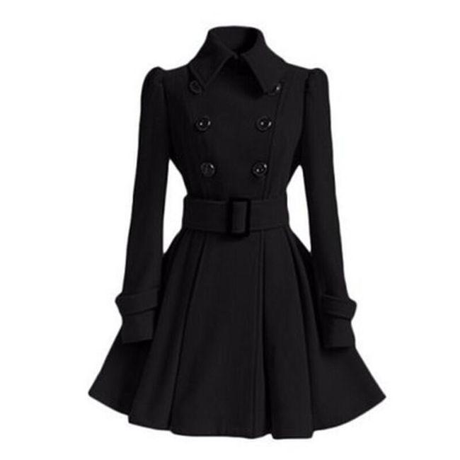 Elegantní zimní kabát - černá - velikost č. M 1