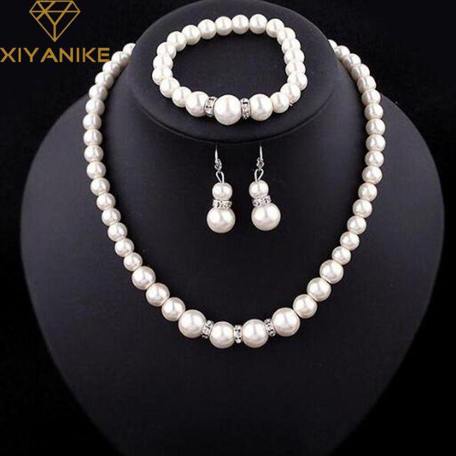 Elegantní sada šperků z umělých perliček 1