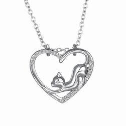 Огърлица с висулка - котка в сърце