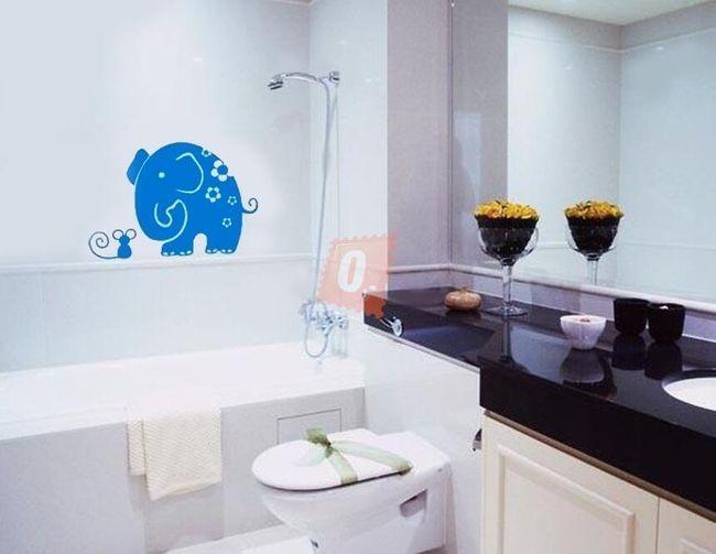 Samolepka na zeď - sloník s myškou 1