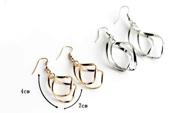 Krásné moderní náušnice - stříbrná a zlatá barva 1