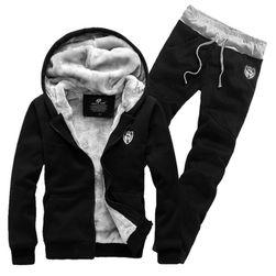 Set îmblanit hanorac și pantaloni Donato Negru-mărimea M