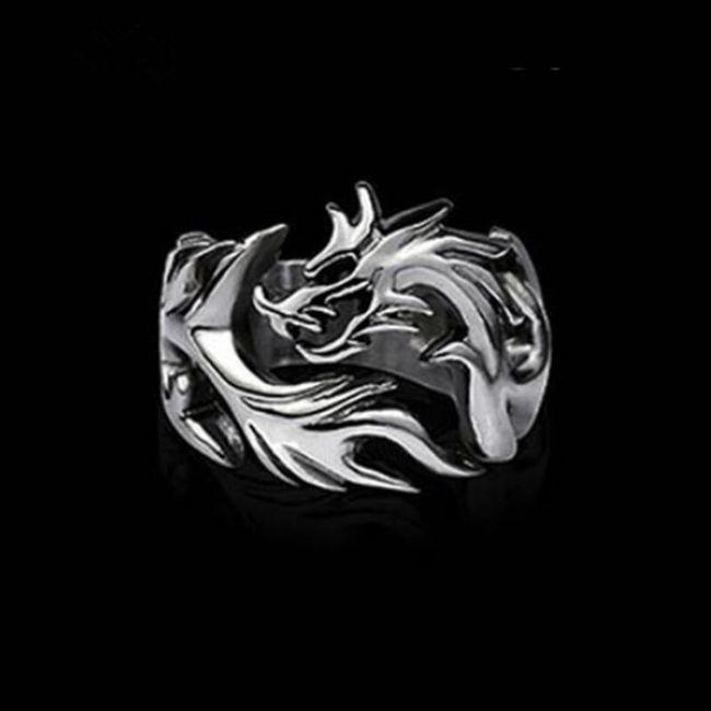 Inel de bărbaţi cu dragon 1