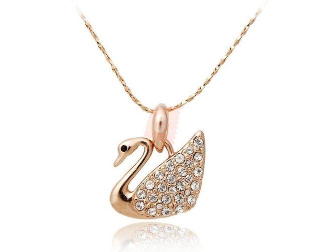 Náhrdelník s labutí osázenou kamínky - zlatá barva 1