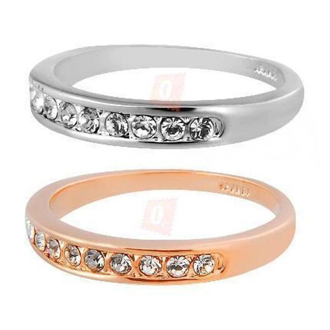 Elegantní prstýnek s broušenými kamínky 1