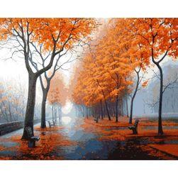 DIY obraz z jesiennym krajobrazem