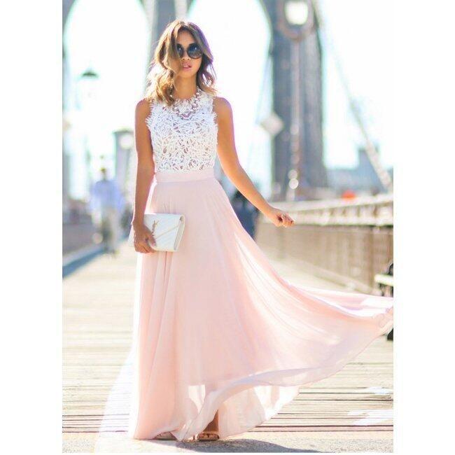 Dlouhé šaty s krajkovým vrškem a růžovou sukní - Velikost č. 6 1