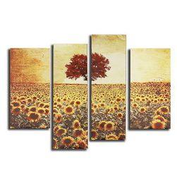 Četvorodelna uljana slika - Suncokretovo polje