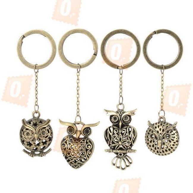 Sada 4 vintage přívěsků na klíče - sovy 1