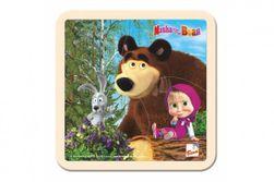 Skladačka Puzzle drevo Máša a Medveď sa zajacom 4ks 15x15cm 12m + RM_82016115