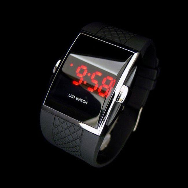 Zegarek cyfrowy z silikonowym paskiem - czarny 1