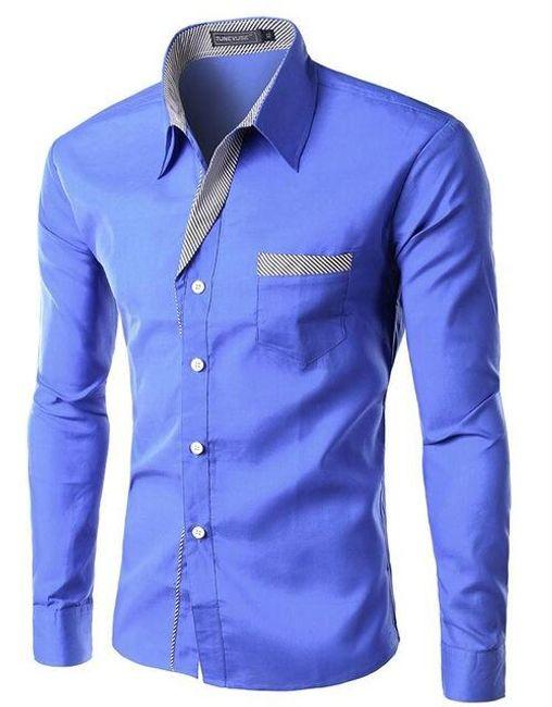 Pánská košile SLIM FIT s dlouhým rukávem - Modrá 1 -  velikost č. 5 1