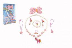 "Sada krásy jednorožec náušnice, náhrdelník, sponky do vlasov, prstienky 2 ks plast v krabičke 17,5x25x4cm "" RM_00850329"