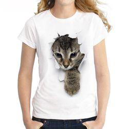Ženska majica sa 3D printom mačke - 6 boja