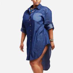 Džínové šaty v košilovém střihu - 8 velikostí