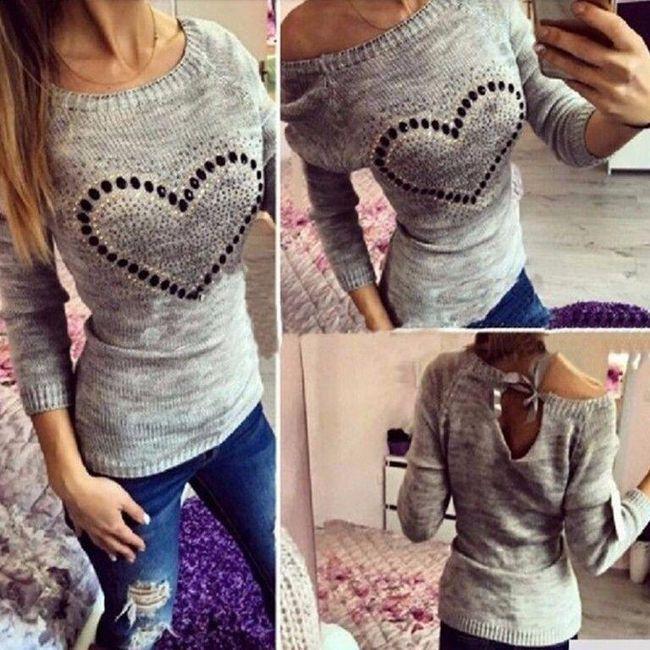 Luxusní pletený svetřík se srdíčkem - 4 barvy 1