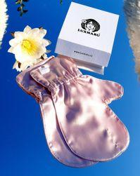 Luxusní hedvábné rukavičky pro omlazení pleti - RŮŽOVÉ S