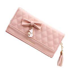 Hosszú pénztárca szalaggal és macska medállal - 5 szín