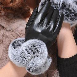 Koženkové rukavice na zimu - 3 barvy